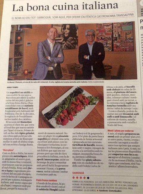 Reportaje de nuestro restaurante italiano Siamoquà